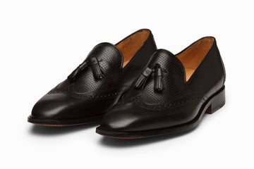 Wingtip Tassel Loafers- BLACK