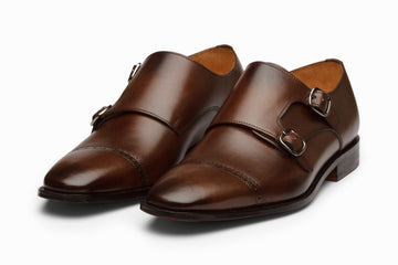 Cap Toe Double Monkstrap - DARK BROWN