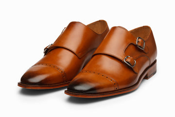 Cap Toe Double Monkstrap - TAN