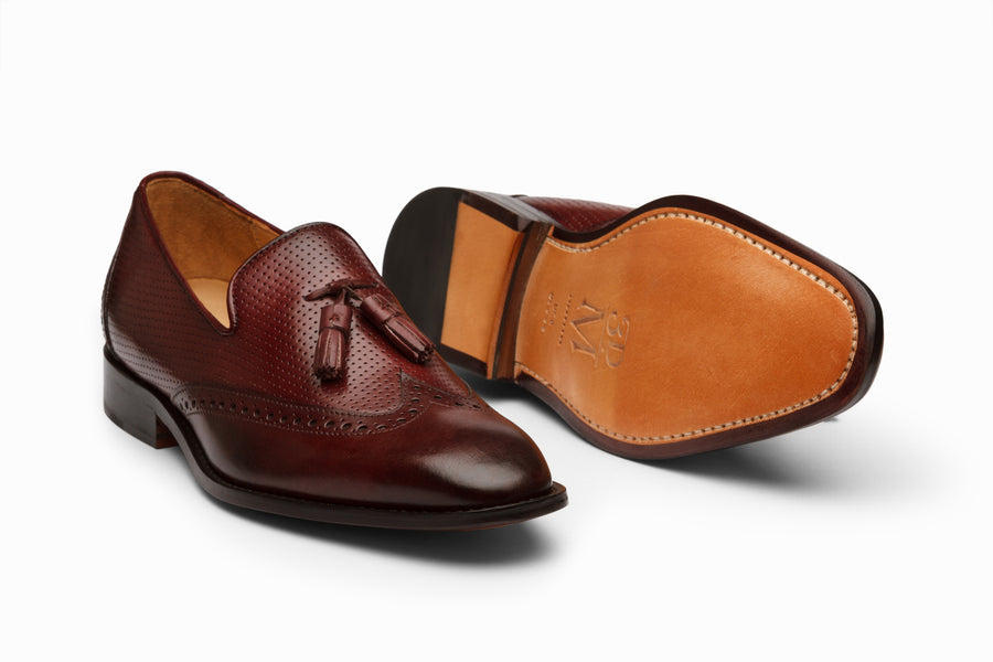 Wingtip Tassel Loafers- BURGUNDY