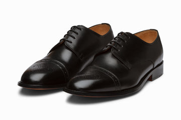 Cap Toe Brogue Derby - Black
