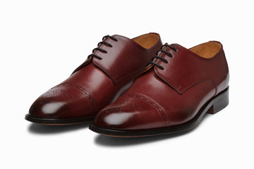 Cap Toe Brogue Derby - BURGUNDY