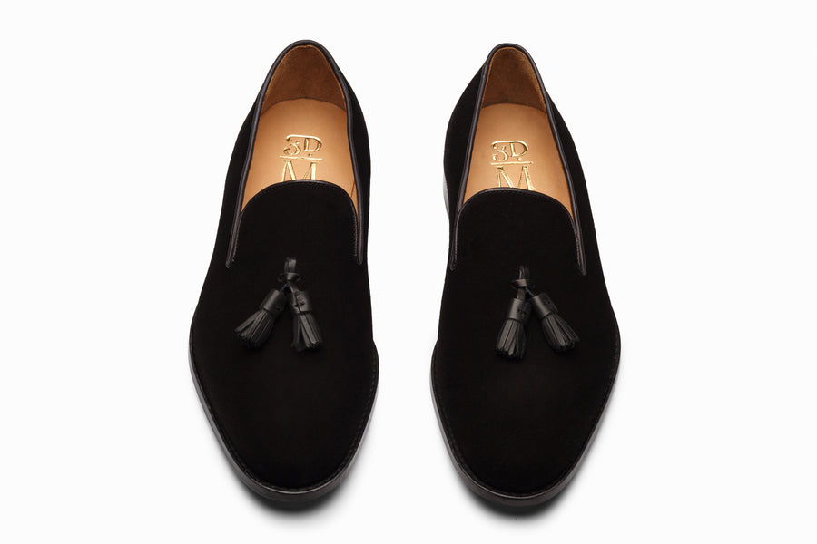 Tassel Loafers - Black Suede
