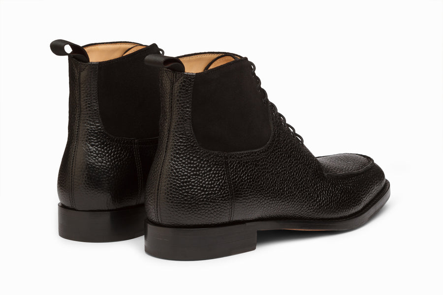 Split Toe Derby Suede Combination Boot - Black