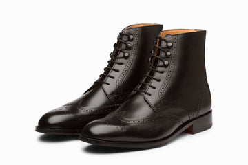 Leather Wingtip Brogue Boot - Black