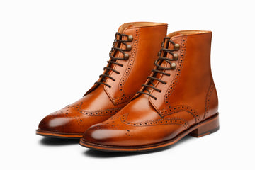 Leather Wingtip Brogue Boot - Tan