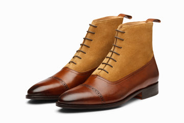 Two Tone Balmoral Leather Boot - Brown/Camel Suede
