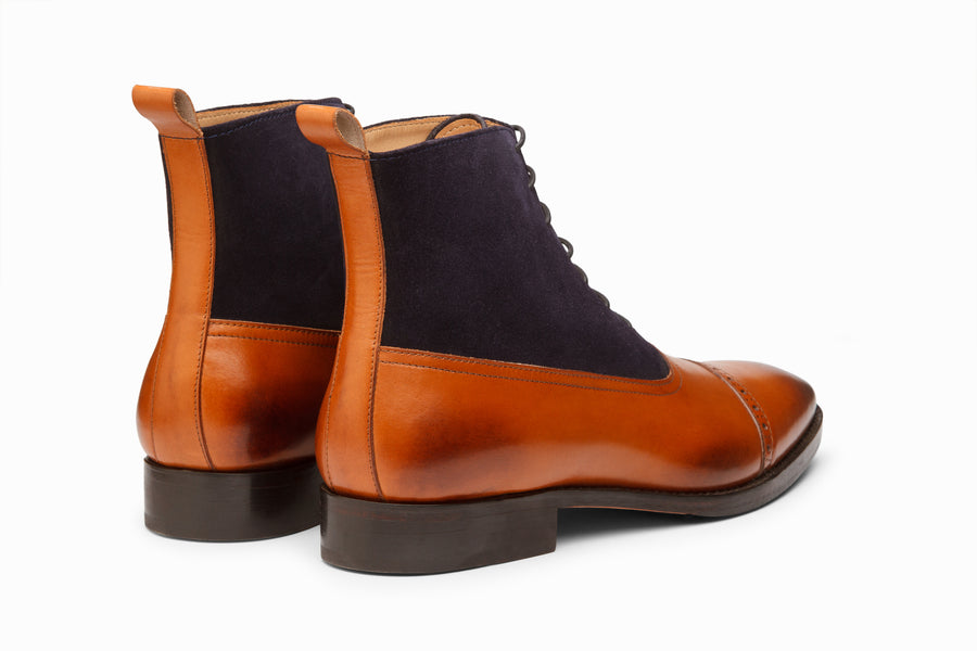 Two Tone Balmoral Leather Boot - Tan/Navy Suede