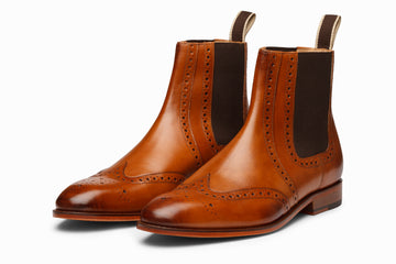 Wingtip Chelsea Brogue Boot - Tan