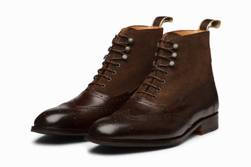 Suede Combination Balmoral Boots - Dark Brown