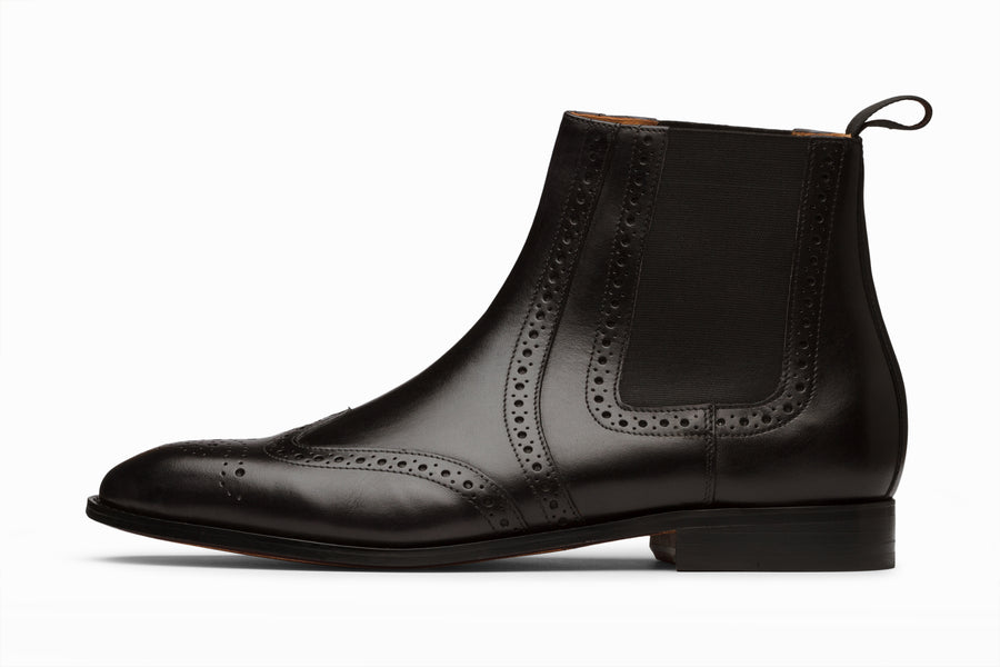 Wingtip Chelsea Brogue Boot - Black
