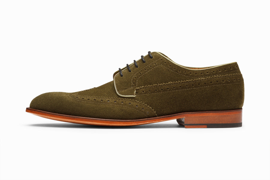 Wingtip Derby Brogue - Olive Suede