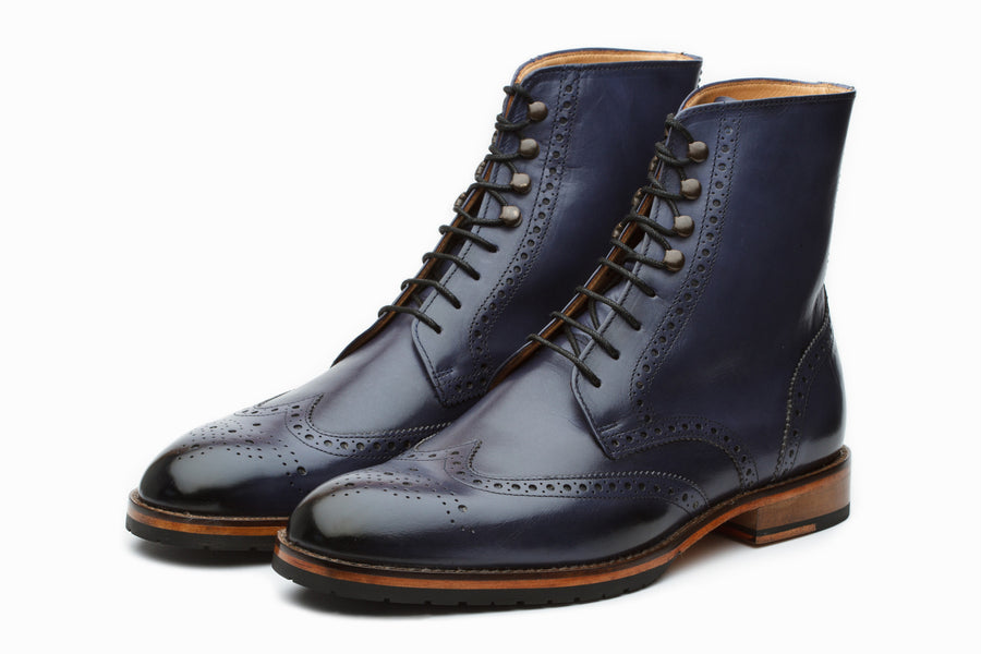 Boots - Leather Wingtip Brogue Boot - Blue