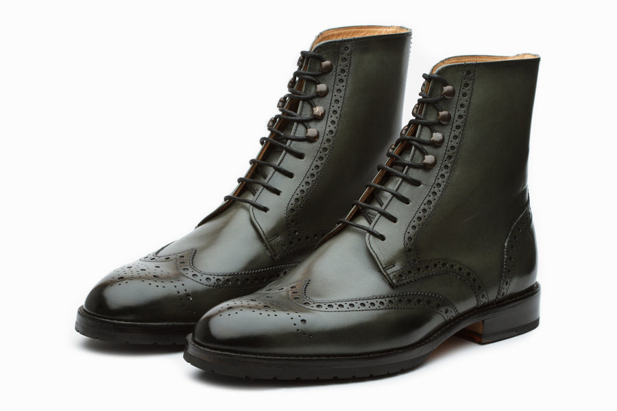 Boots - Leather Wingtip Brogue Boot - Loden