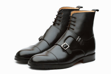 Boots - Monkstrap Leather Boots - Black