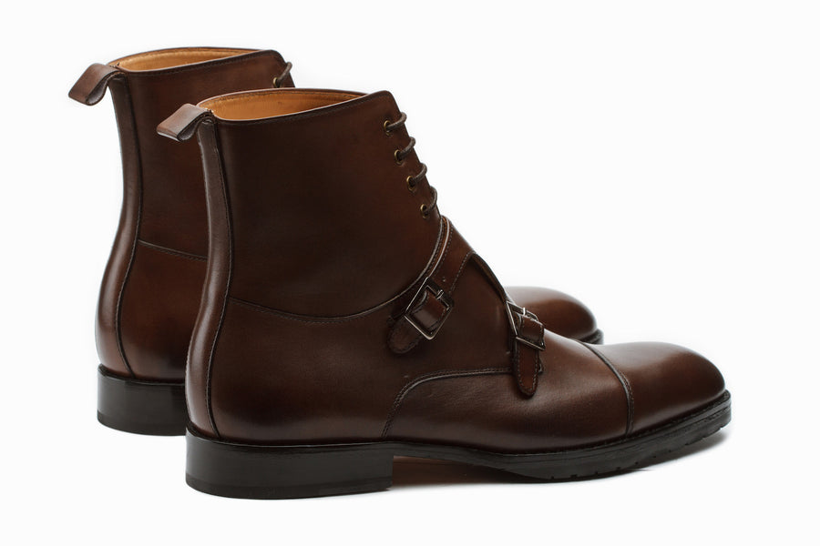 Boots - Monkstrap Leather Boots - Dark Brown