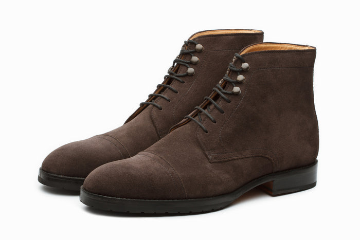 Boots - Toecap Derby Boot - Charcoal Suede