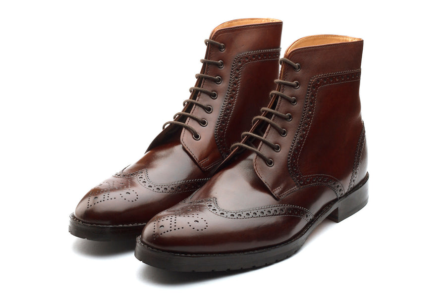 Boots - Wingtip Brogue Boot - Brown