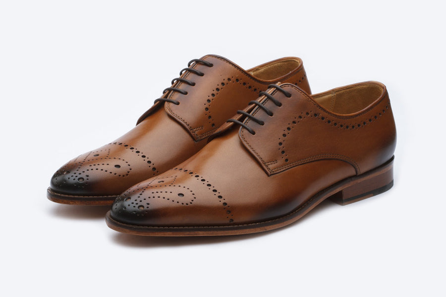 Brogue Derby with Perforations - Tan