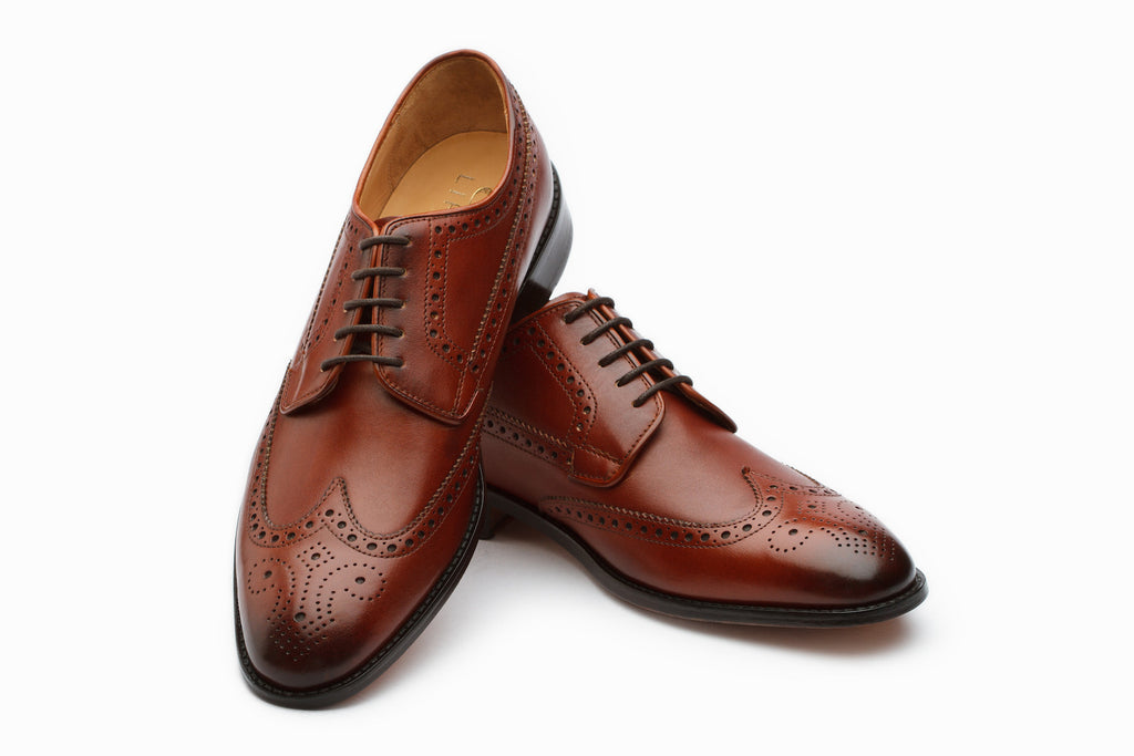Derby - Wingtip Derby Brogue - Dark Cognac