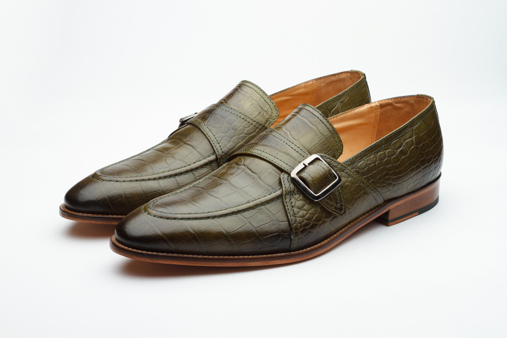 Loafers - Crocodile Print Monk Style Loafer - Olive