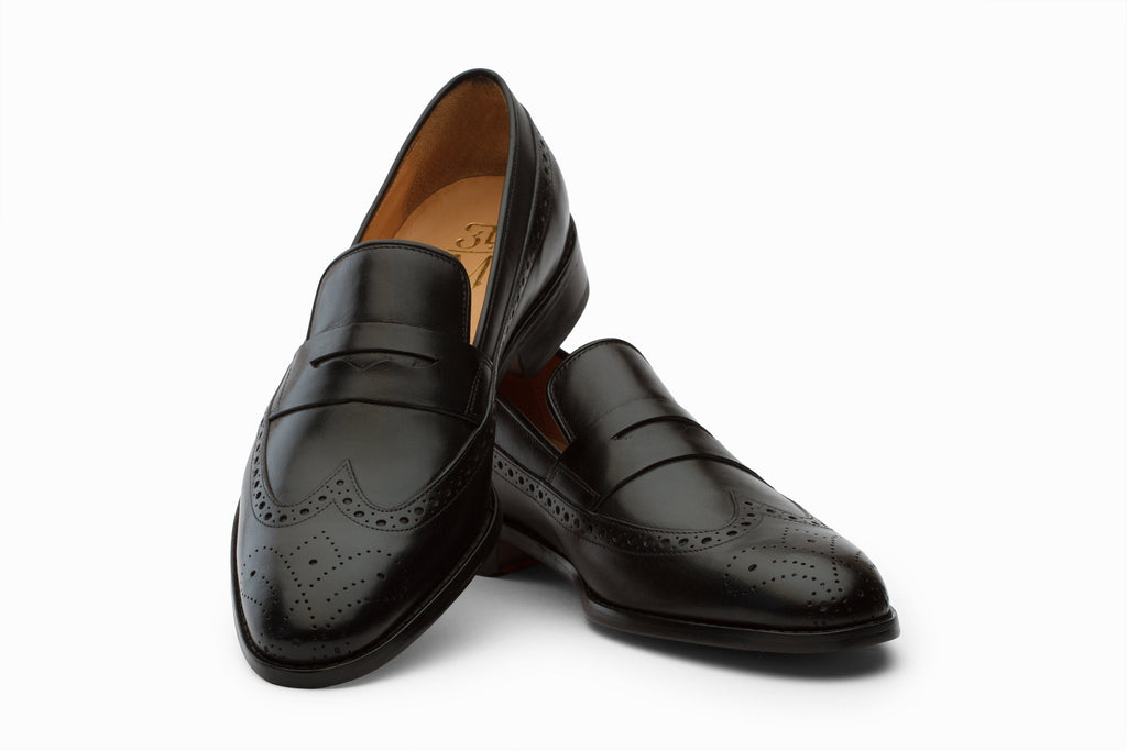 Loafers - Longwing Brogue Loafers - Black