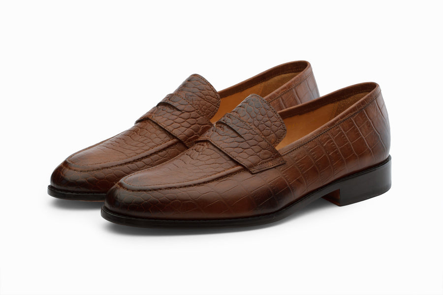 Loafers - Penny Loafer- Crocodile Brown