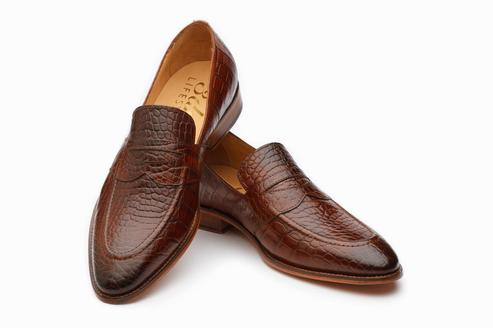 Loafers - Saddle Strap Loafer - Crocodile Brown ( UK 6,7,8 & 11 Only)