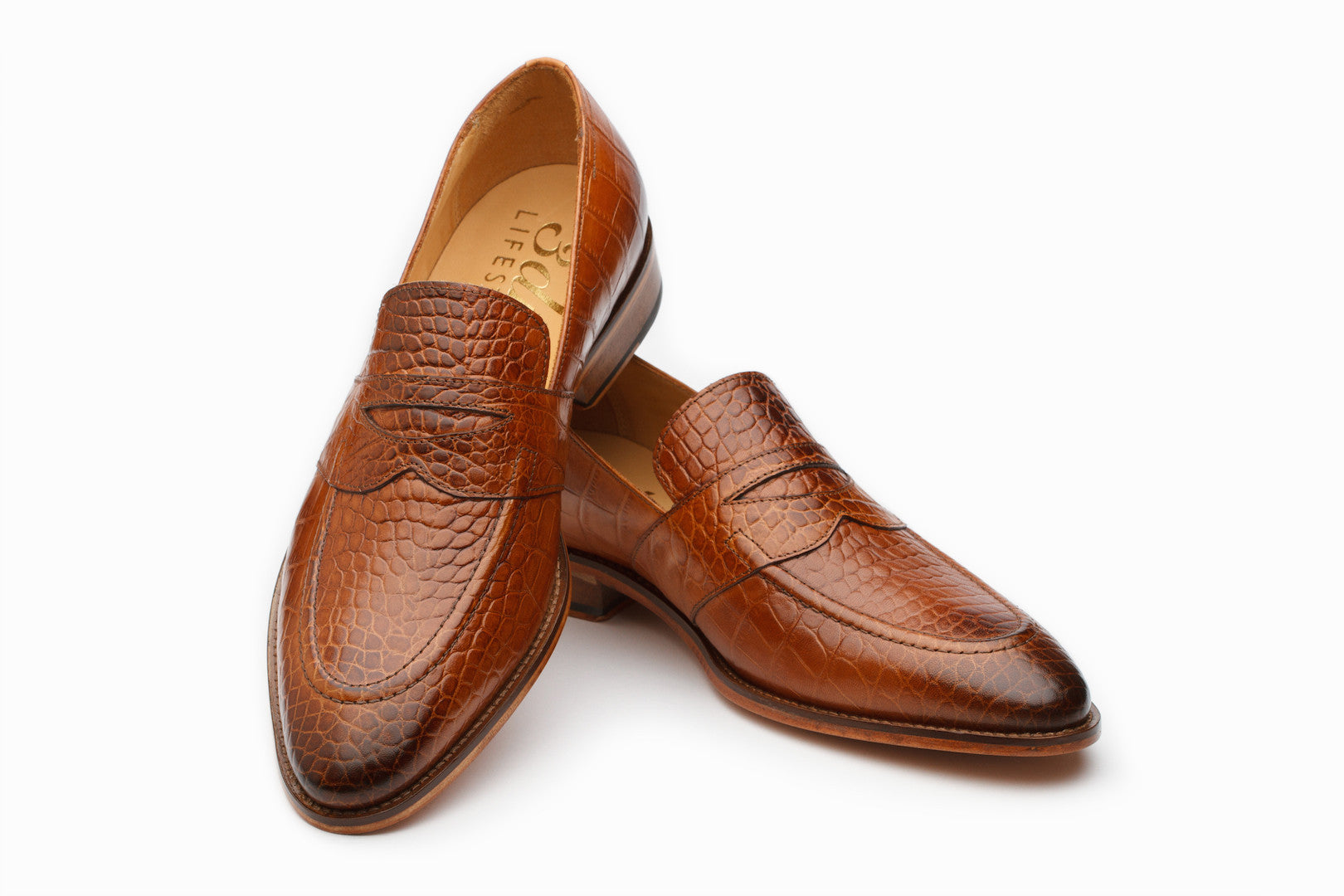 Loafers - Saddle Strap Loafer - Crocodile Tan ( UK 7,8 & 11 Only )