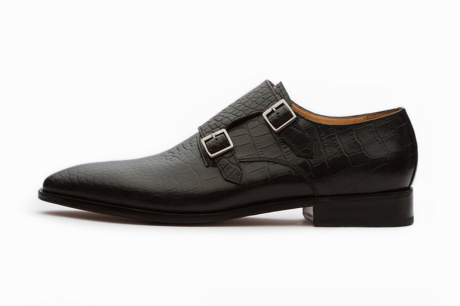 Monkstraps - Crocodile Print Double Strap Monk - Black