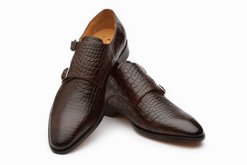 Monkstraps - Crocodile Print Double Strap Monk - Brown