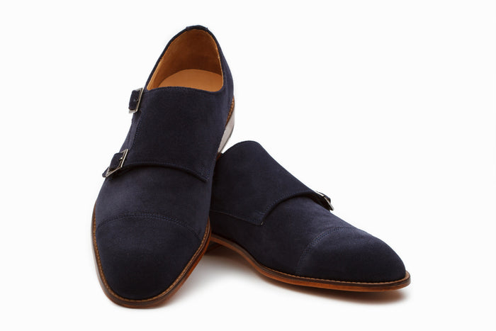 Monkstraps - Double Monkstrap - Navy Suede