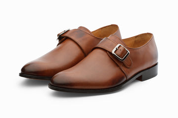 Monkstraps - Plain Toe Monkstrap - Dark Cognac
