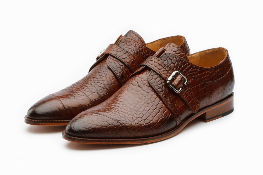 Single Monkstrap Leather Shoes - Crocodile Brown