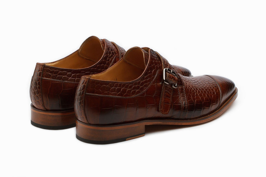 Monkstraps - Single Monkstrap Leather Shoes - Crocodile Brown