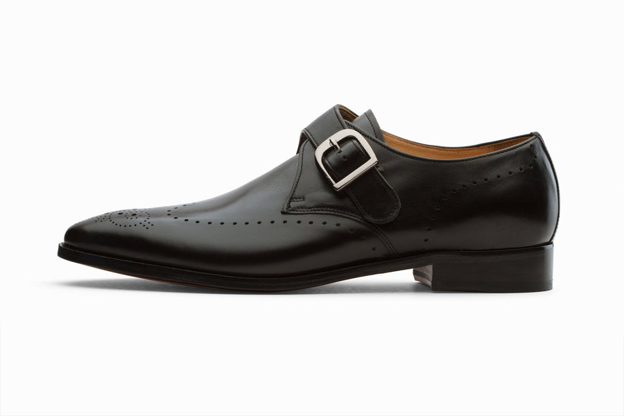 Monkstraps - Single Strap Brogue Monk - Black