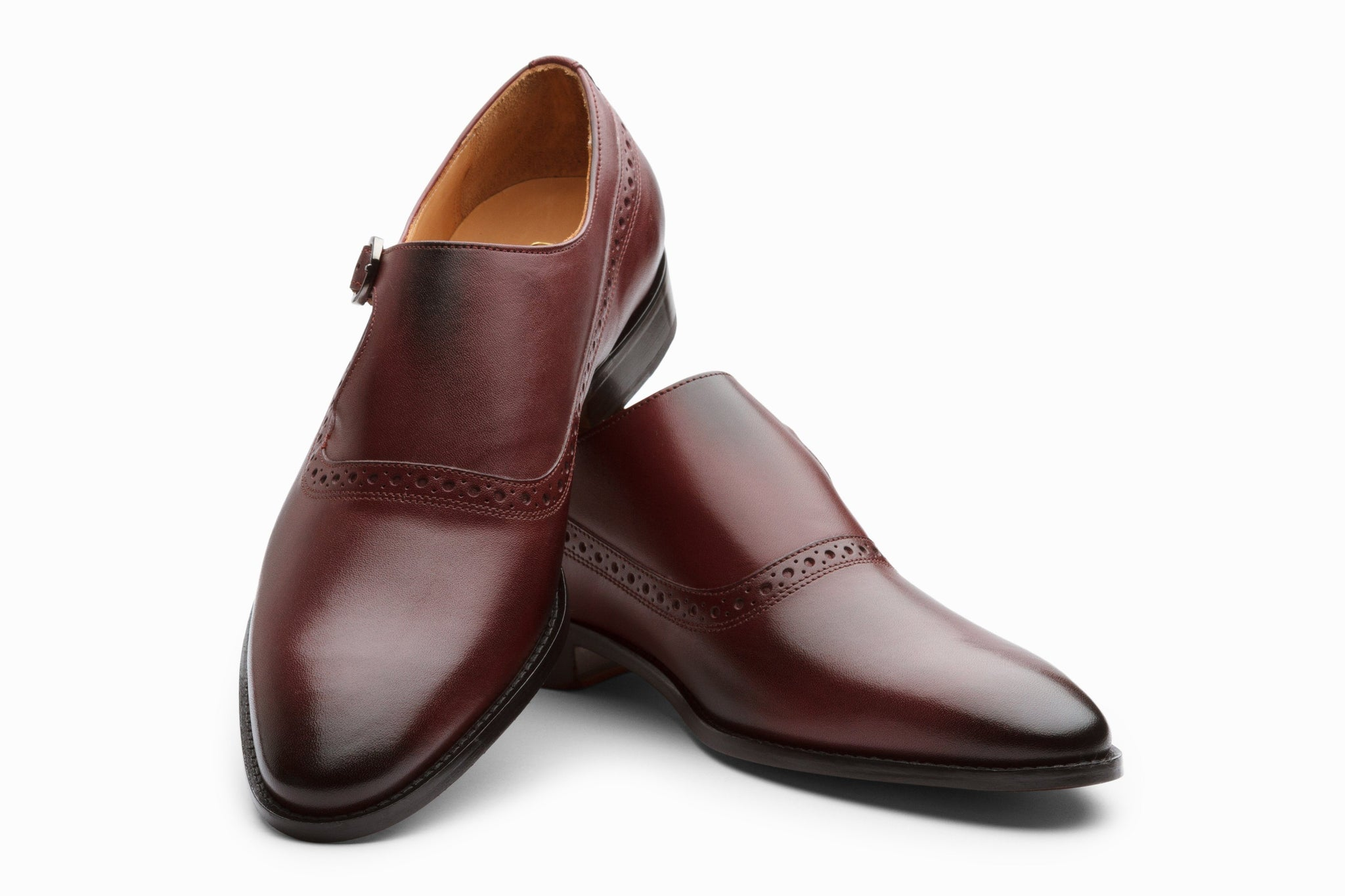 Monkstraps - Single Strap Brogue Monk - Burgundy