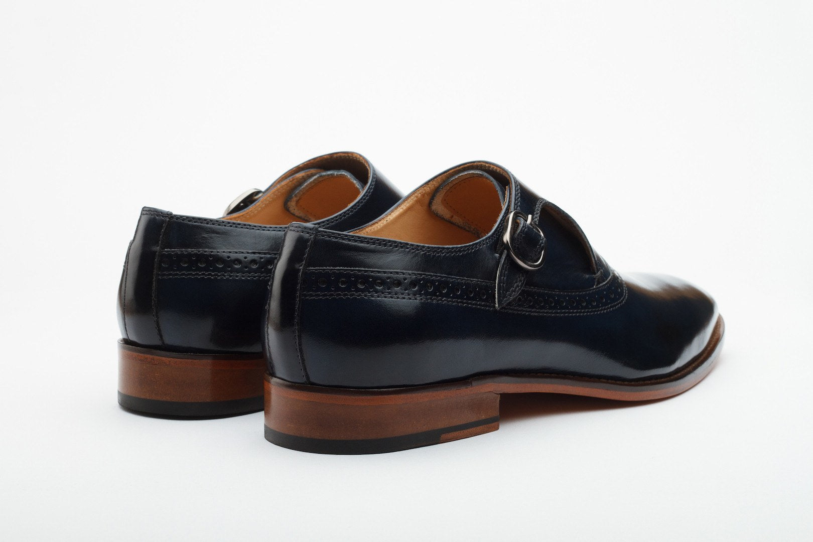 Monkstraps - Single Strap Brogue Monk - Navy