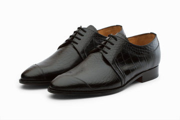 Monkstraps - Toe Cap Derby- Crocodile Black