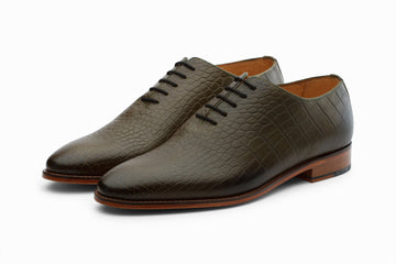 Oxfords - Plain Wholecut Oxford -  Crocodile Olive
