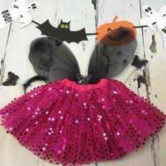 Hot Pink Halloween Sparkle Tutu And Wings Set