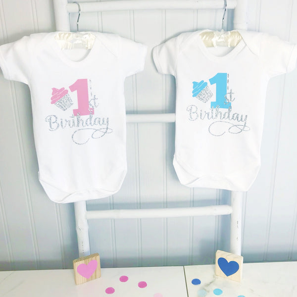 Boy & Girls Cupcake First Birthday Baby Grow / Baby Bodysuit