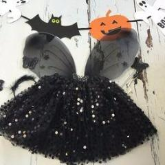 Black Halloween Sparkle Tutu And Wings Set