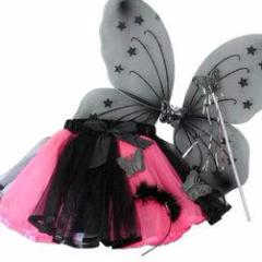 Hot Pink  Halloween Tutu with Wings