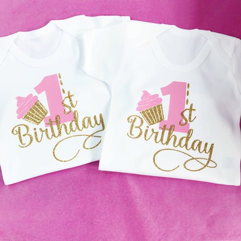 Birthday Number Cupcake Celebration Baby Onesie