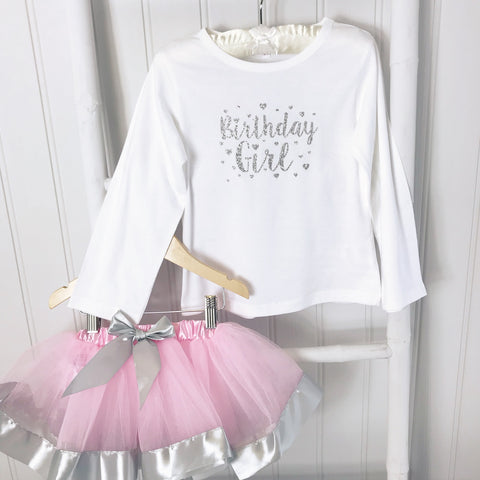 Birthday Girl  Silver Sparkle T Shirt & Tutu GIFT SET