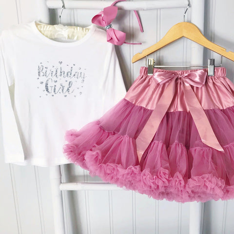 """Birthday Girl""  Wild Rose  Pettiskirt &  T-Shirt & GIFT SET"