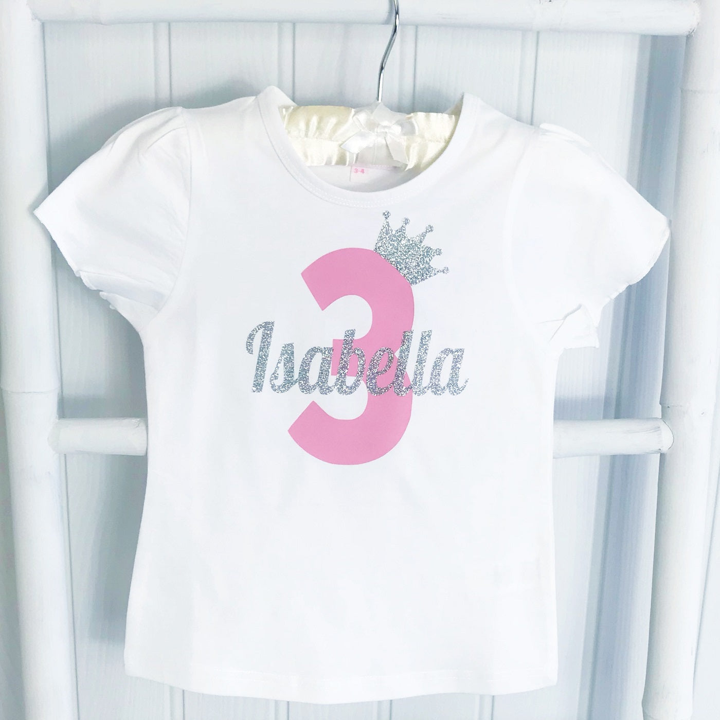 Girls Personalised Sparkly White Birthday Crown Number T Shirt