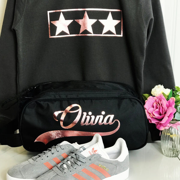 Girls Personalised Boot Trainer Bag Rose Gold Gift for Girl