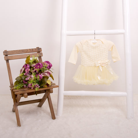 Rose Onesie Pettidress in Cream